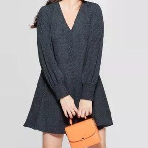NWT Long Sleeve V-Neck Woven Mini Dress A New Day